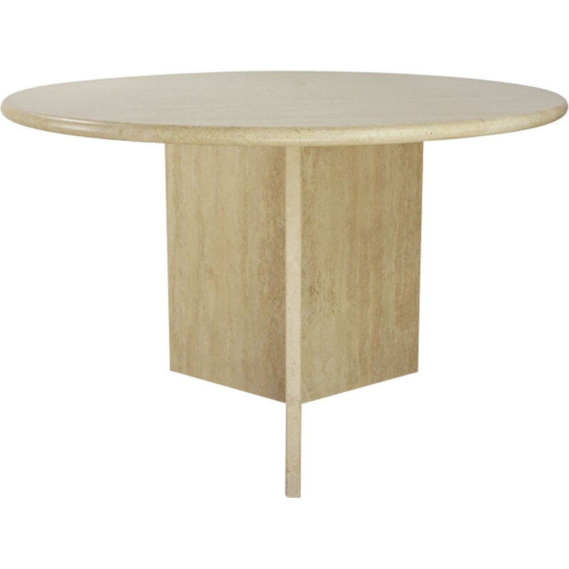 Vintage dining table round in travertine Italy 70s