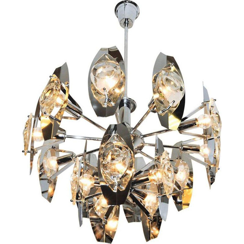 Vintage Scandinavian Chandelier in metal and Glass (Peacock Ceiling), 1970s