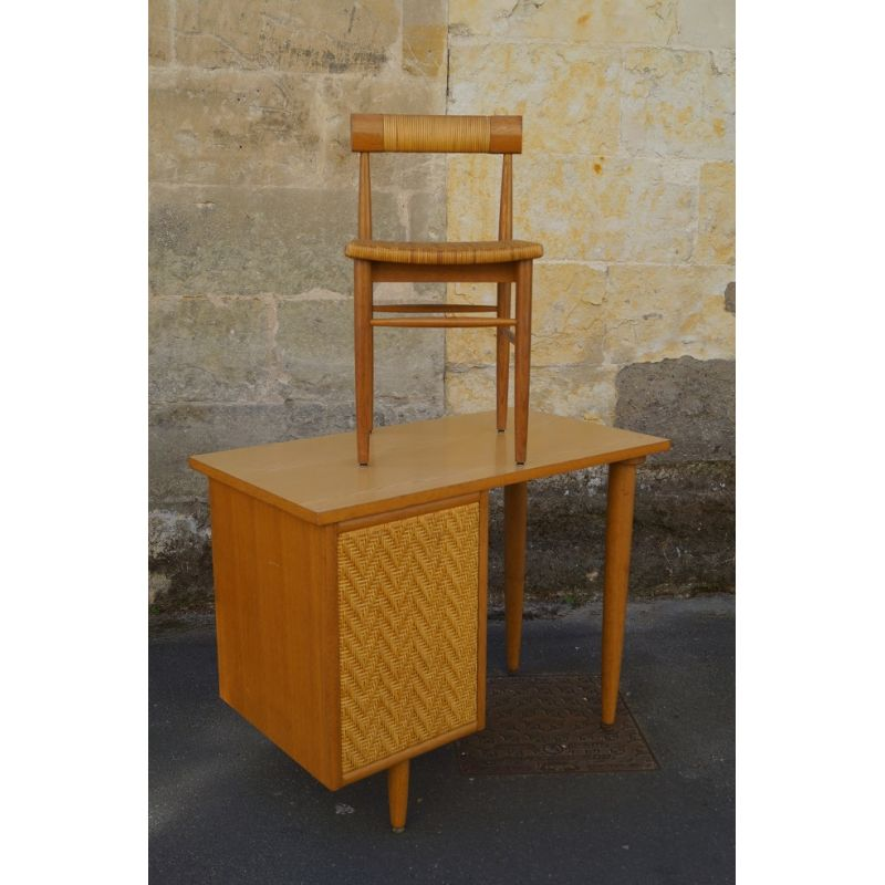 Superb Vintage Wooden And Rattan Desk Set 1960 Gmtry Best Dining Table And Chair Ideas Images Gmtryco