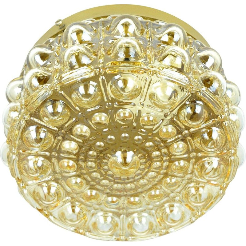 Vintage Round glass ceiling lamp by Dolin, Germany in the 1970s