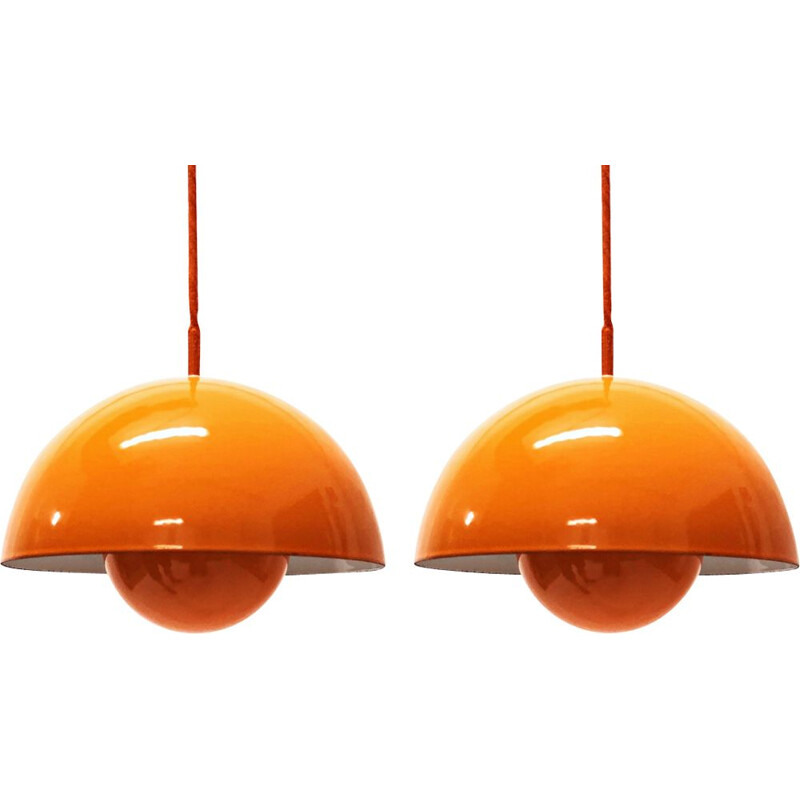 Set of 2 Flowerpot Vintage Pendant Lights from Verner Panton for Louis Poulsen, Danemark, 1960
