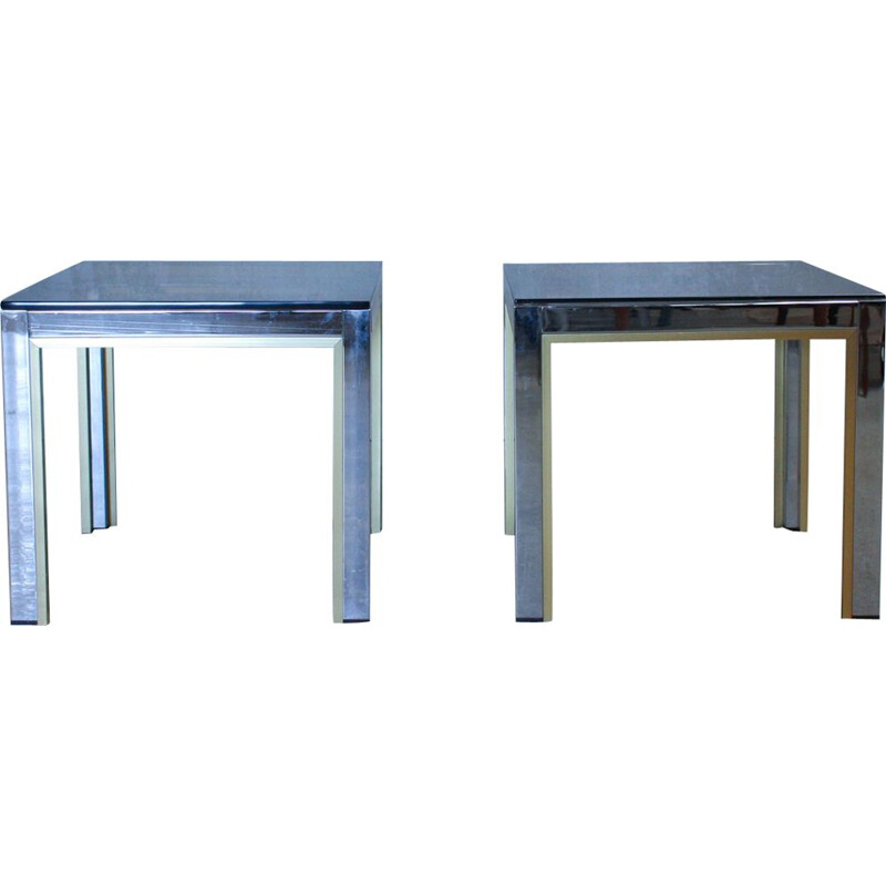 2 Italian Gold Chrome & Glass Side Vintage Tables by Renato Zevi, 1970s