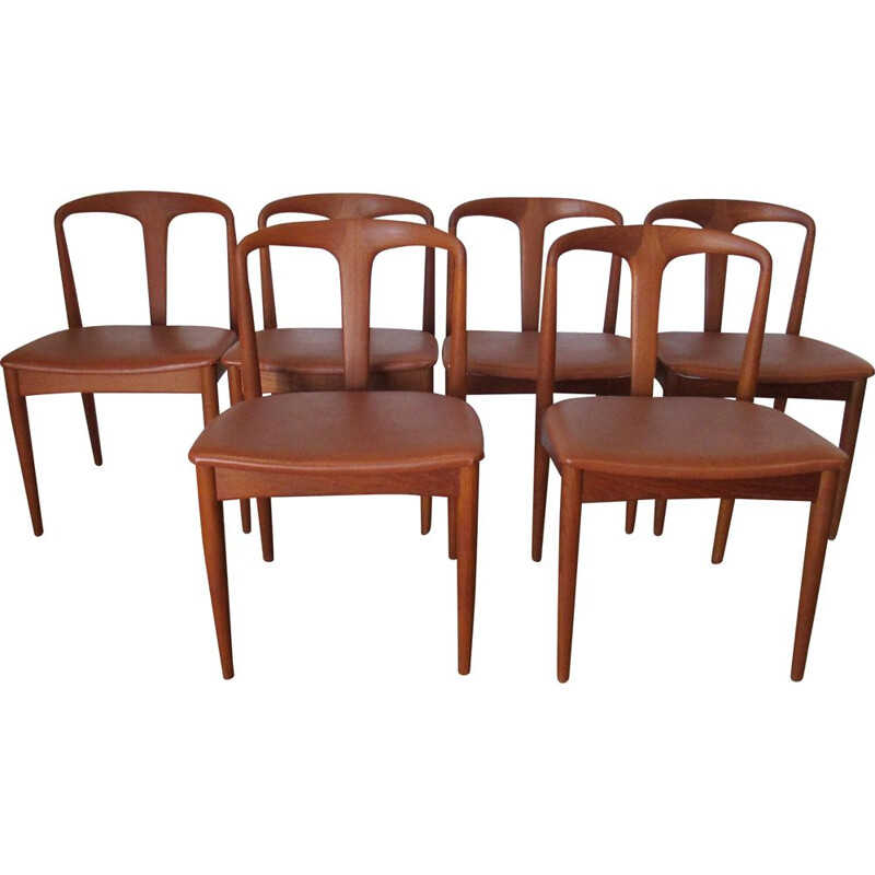 Johannes Andersen's set of 6 vintage Juliane chairs in teak, 1960