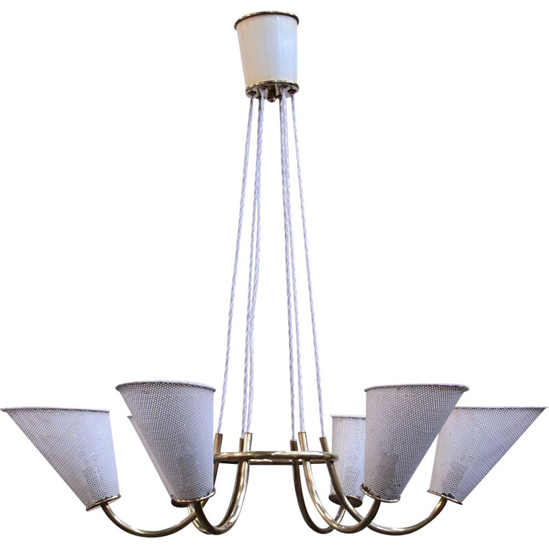 Vintage chandelier of Kobis & Lorence in sheet metal and brass 1950