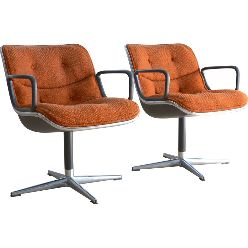 Pair of vintage Pollock armchairs for Knoll in orange fabric 1960