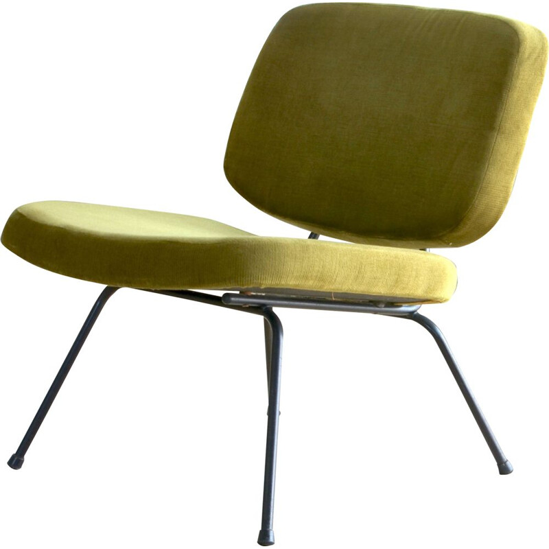 Vintage french CM190 armchair for Thonet in green velvet 1950