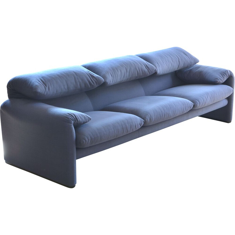 Maralunga vintage sofa for Cassina in blue fabric