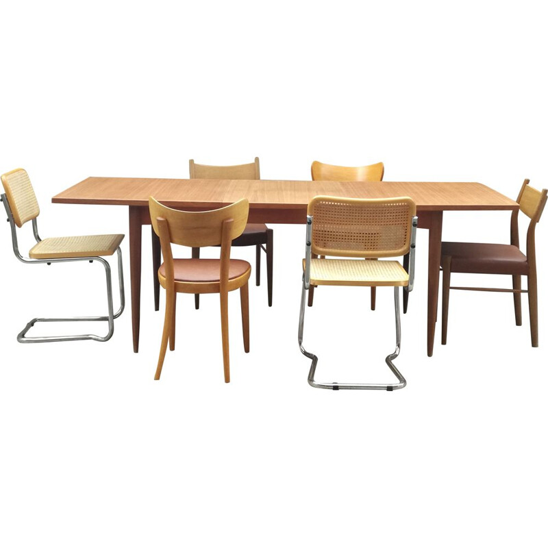 Vintage teak table and 6 mismatched vintage chairs