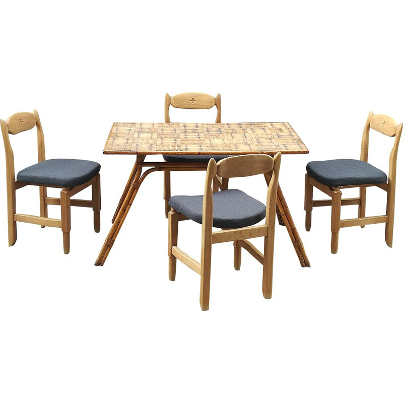 Vintage dining set for Guillerme & Chambron in oak 1960