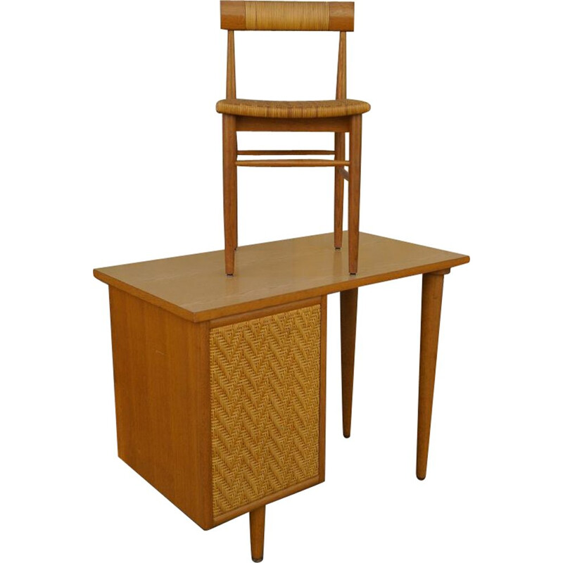 Vintage wooden and rattan desk set 1960