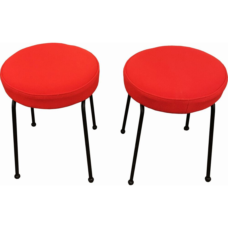 Pair of vintage stools in red wool and black metal 1950