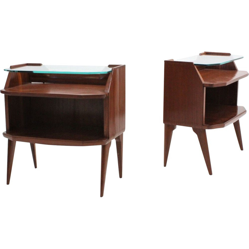 Pair of vintage italian nightstands in rosewood 1950s