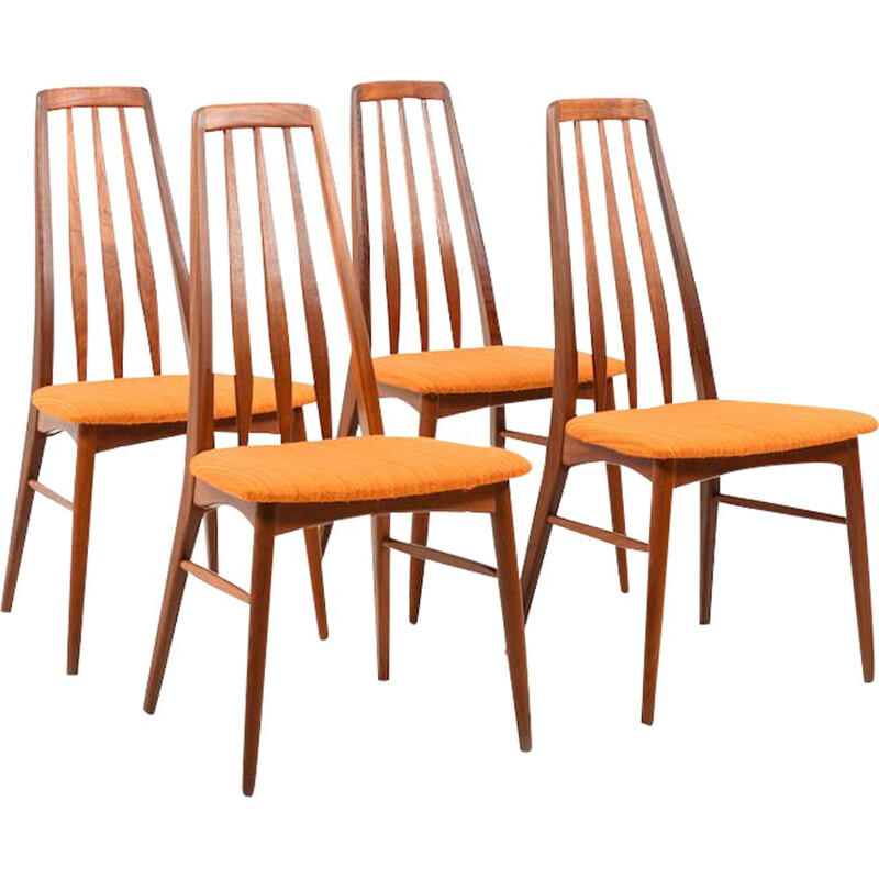 Set of 4 vintage chairs for Koefoed Hornslet in teak and fabric 1960s
