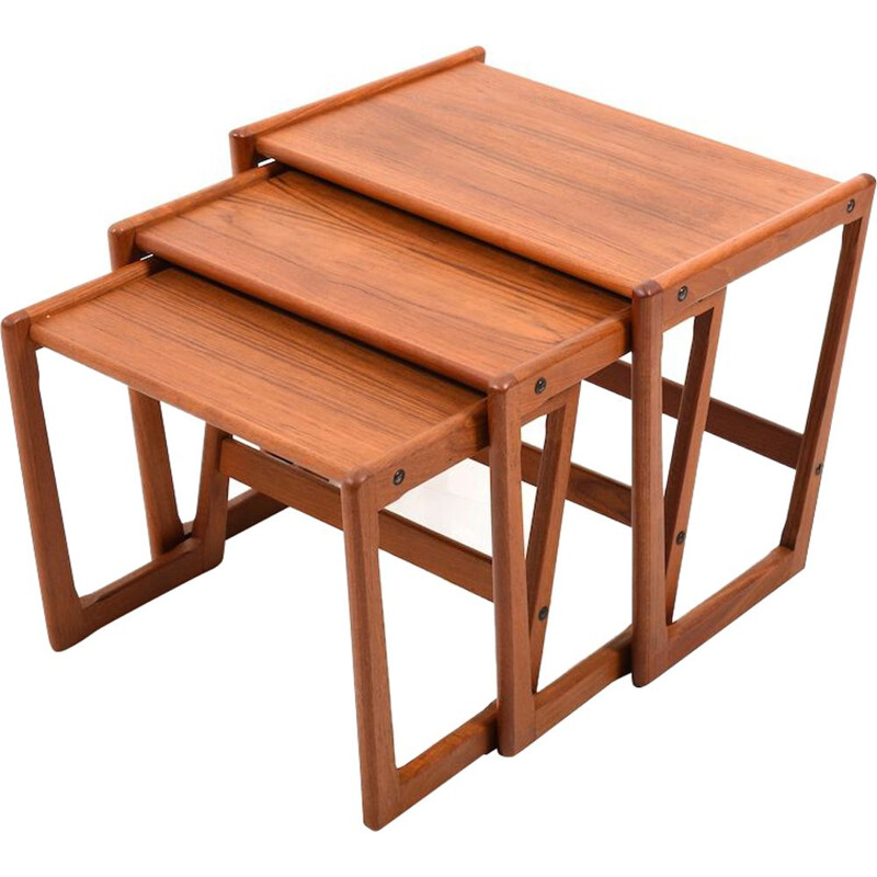 Vintage Danish teak nesting tables by Georg Jensen