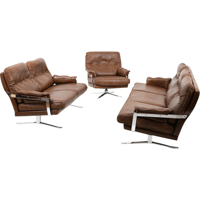 Vintage Hand-Stitched leather and chrome seating by Arne Norell