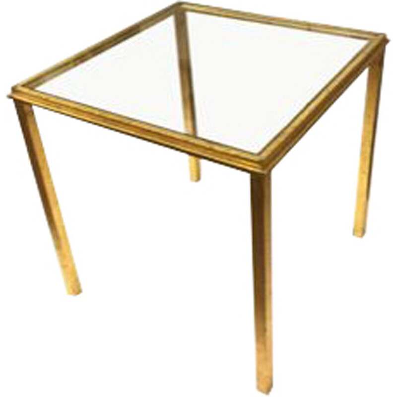 Vintage glass and gilded brass side table