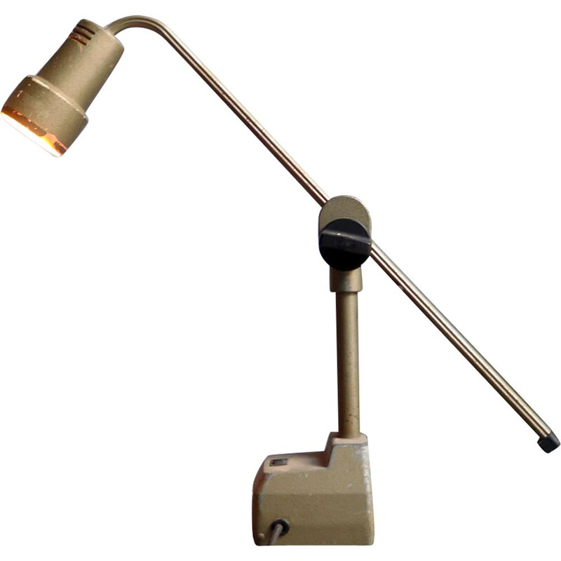 Vintage industrial adjustable table lamp in iron and plastic, 1950