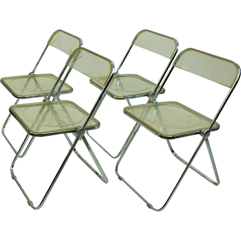 Set of 4 vintage  Plia Folding Chairs by Giancarlo Piretti, 1967