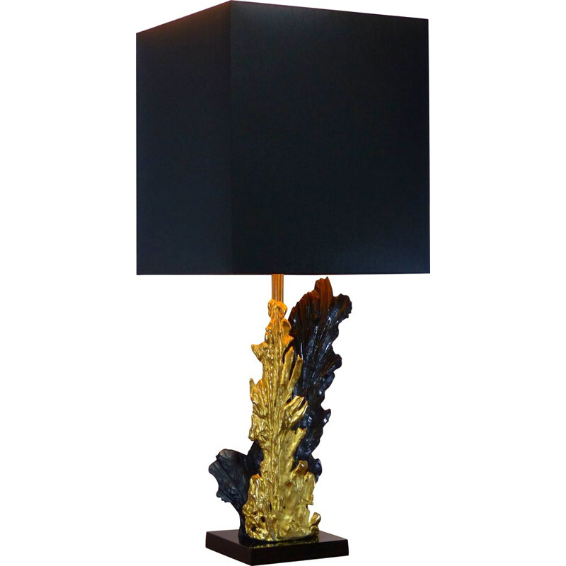 Vintage Black and gold lamp by Philippe Cheverny in brass and resin, 1970