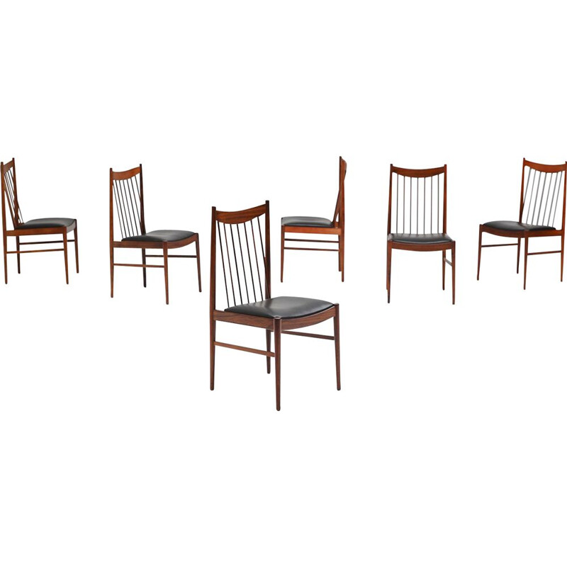 Vintage set of 6 Danish dining chairs in rosewood by Arne Vodder for Sibast, 1964