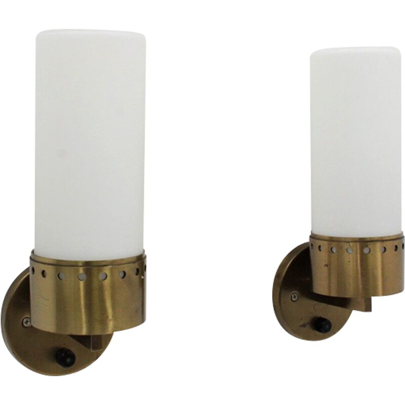 Pair of vintage brass and opaline glass tubular wall lamps 1950s