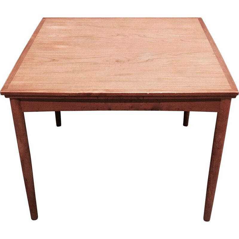 Square vintage dining table with extensions, Scandinavian design, 1950s