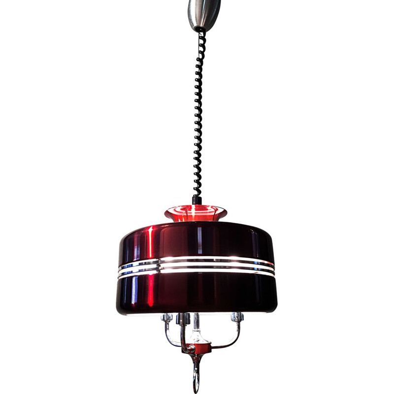 Anodised aluminium vintage pendant light by Jean Gandelin. 1970