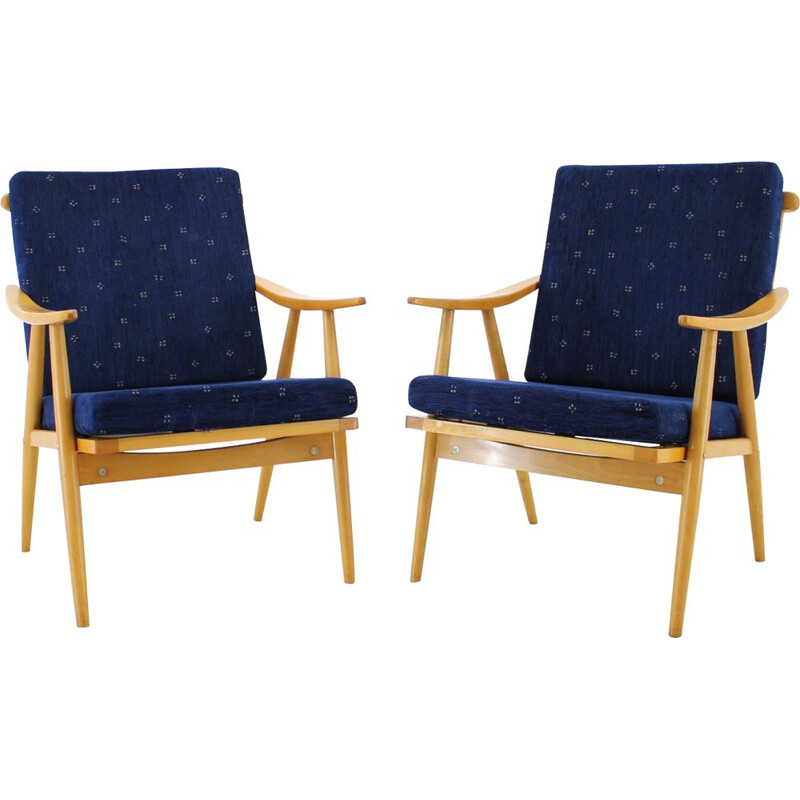 Set of 2 vintage Armchairs, Czechoslovakia, 1960s