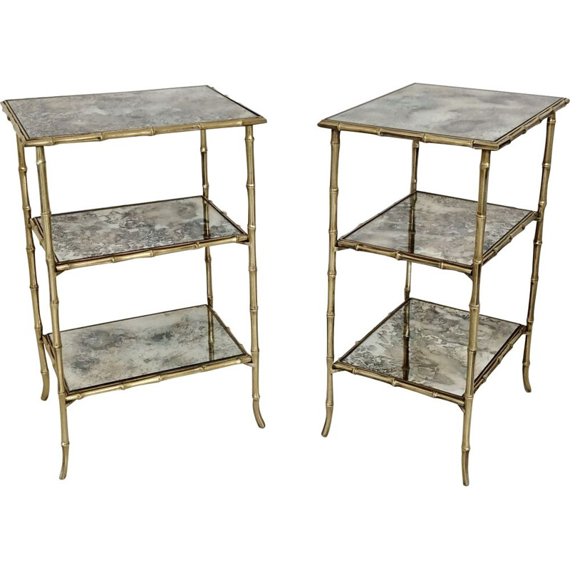 Set of 2 vintage side table, Maison Baguès, 1960, France.
