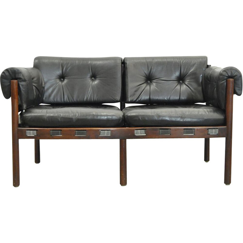 Vintage 2-seater Sofa from COJA, black leather, Swedish, 1960s