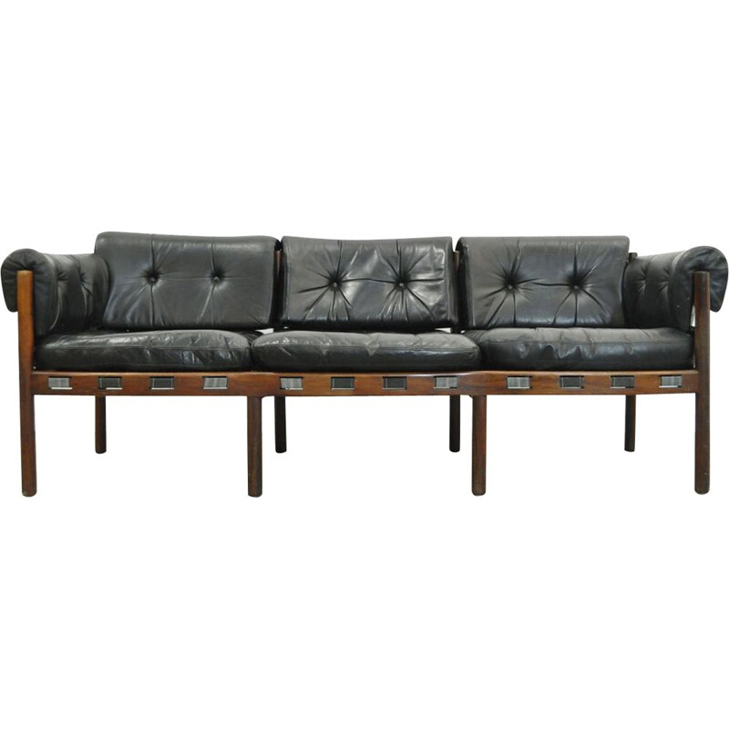 3 seater Vintage sofa from COJA, black leather , Sweden, 1960