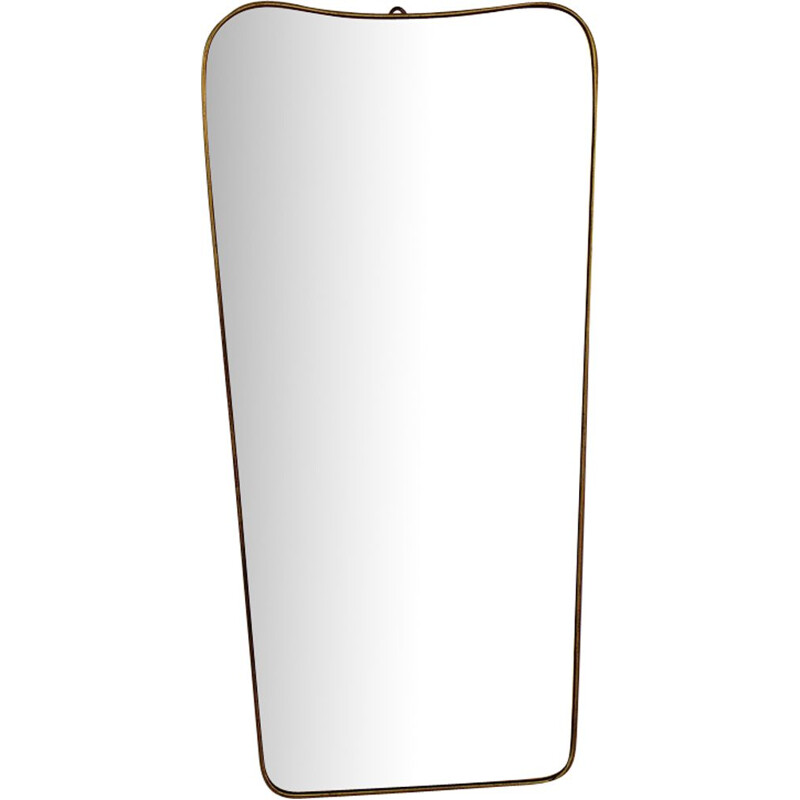 Large golden vintage mirror in brass, 1950
