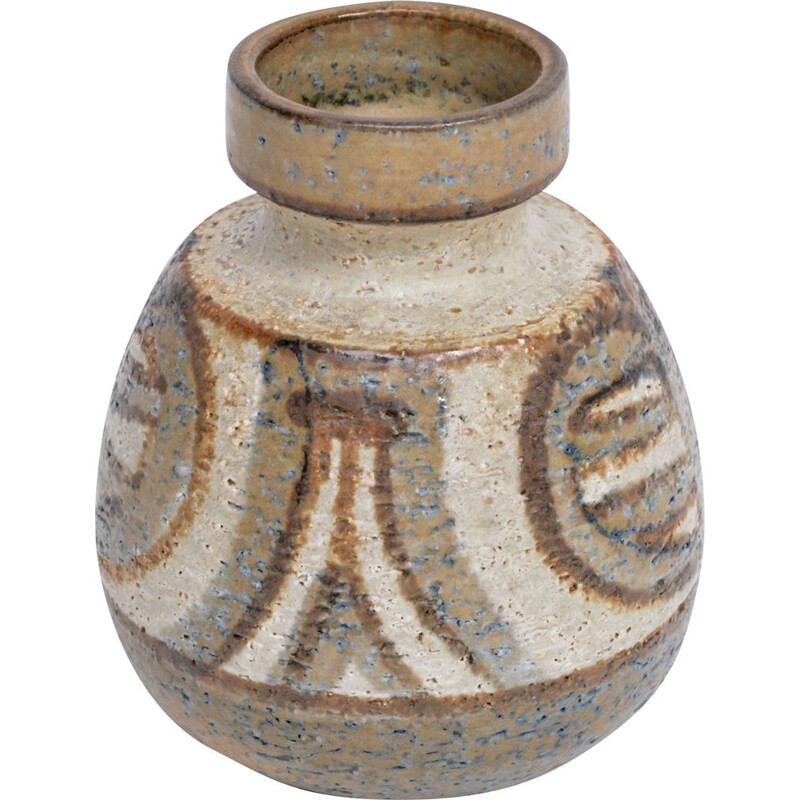 Vintage Small Danish Vase in ceramic, Noomi BACKHAUSEN for Soholm Stentoj, 1970s