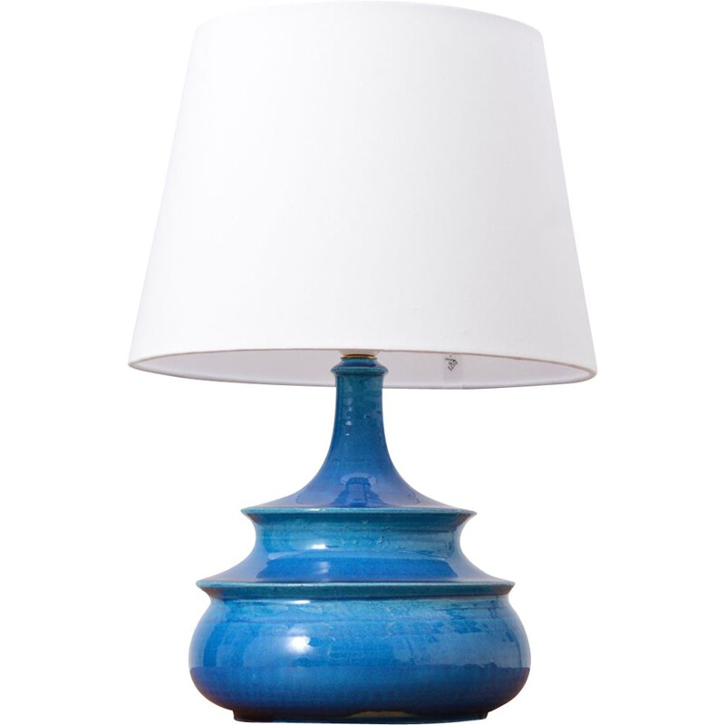 Vintage Table Lamp Turquoise Glazed by Nils Kähler, Denmark1960s