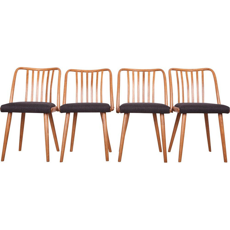 Vintage Set of 4 Black Dining Chairs by Antonin Suman for Ton, 1960s