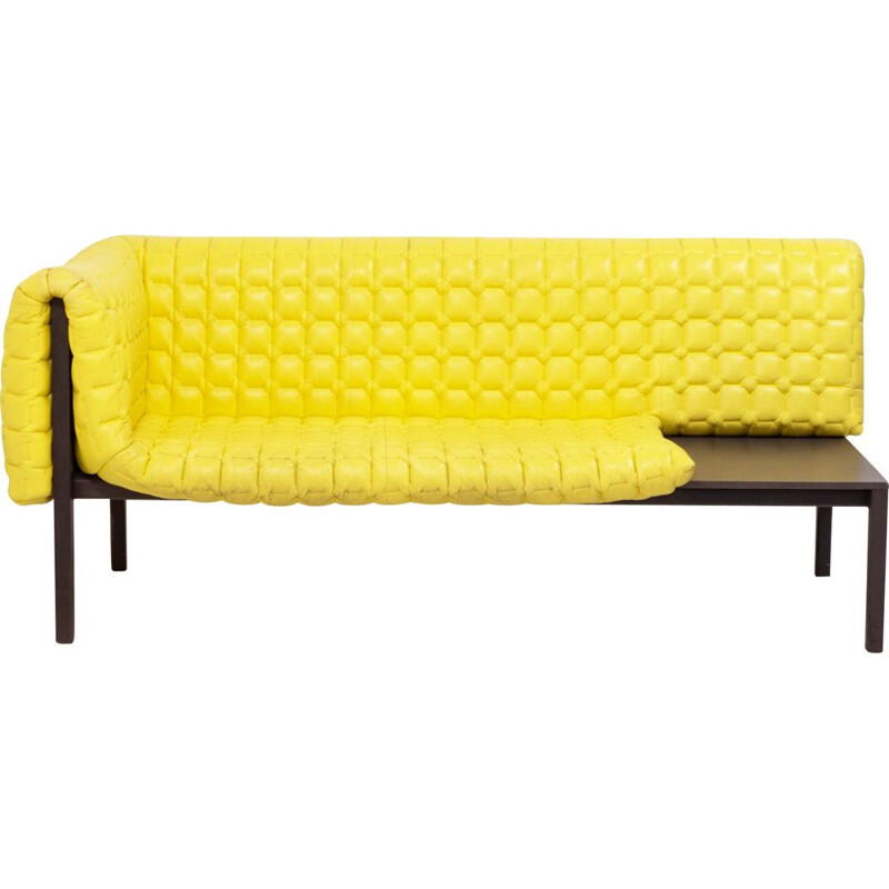 Vintage Sofa, Ruché Model in Yellow Leather Sofa by Inga Sempé for Ligne Roset, 2010