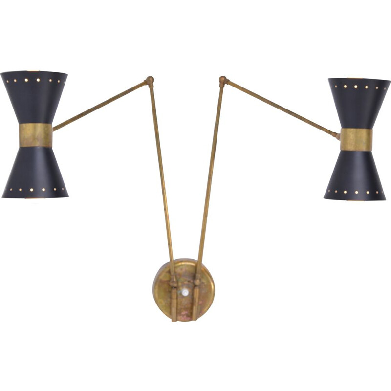 Vintage Wall Lamp Adjustable, Metal with Brass Elements, Italy
