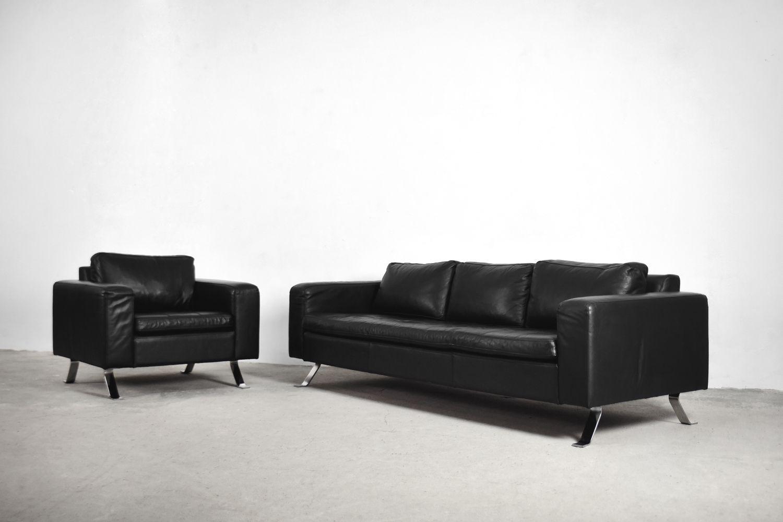 Vintage Living Room Set By Lind Furniture Black Leather 1980s