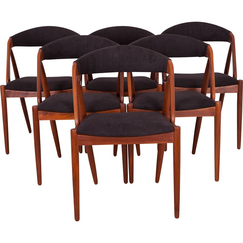 Set of 6 black chairs in teak by Kai Kristiansen, model 31