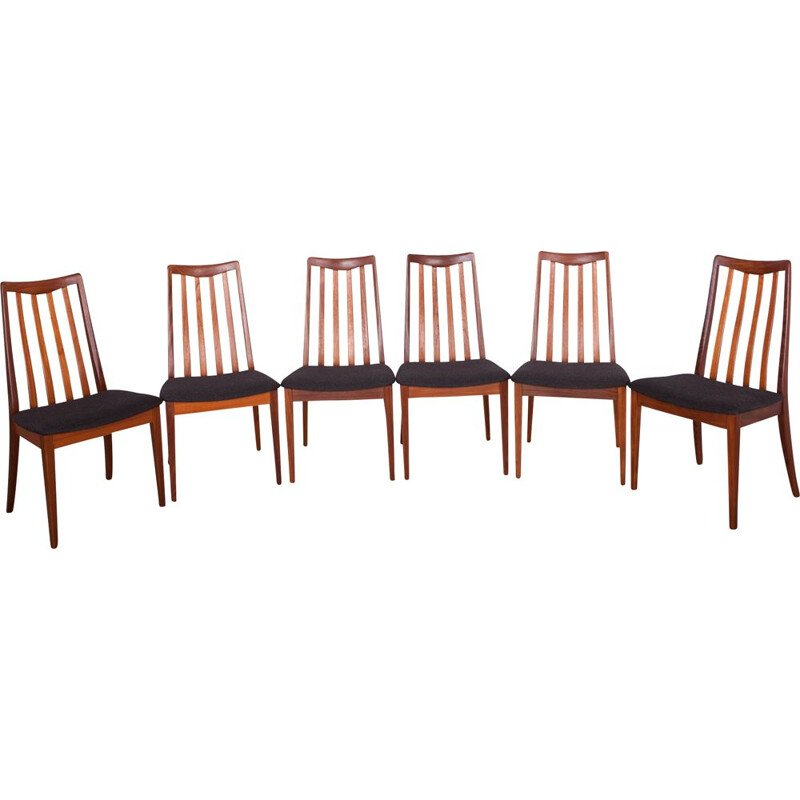 Set of 6 teak and fabric dining chairs by Leslie Dandy