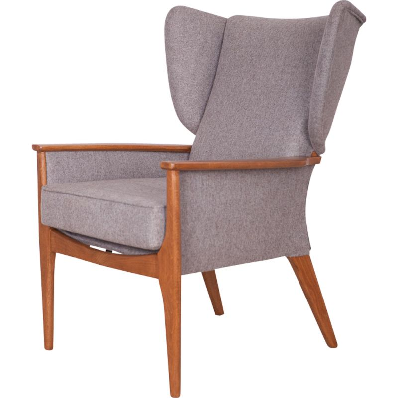 Wingback grey armchair in beech from Parker Knoll