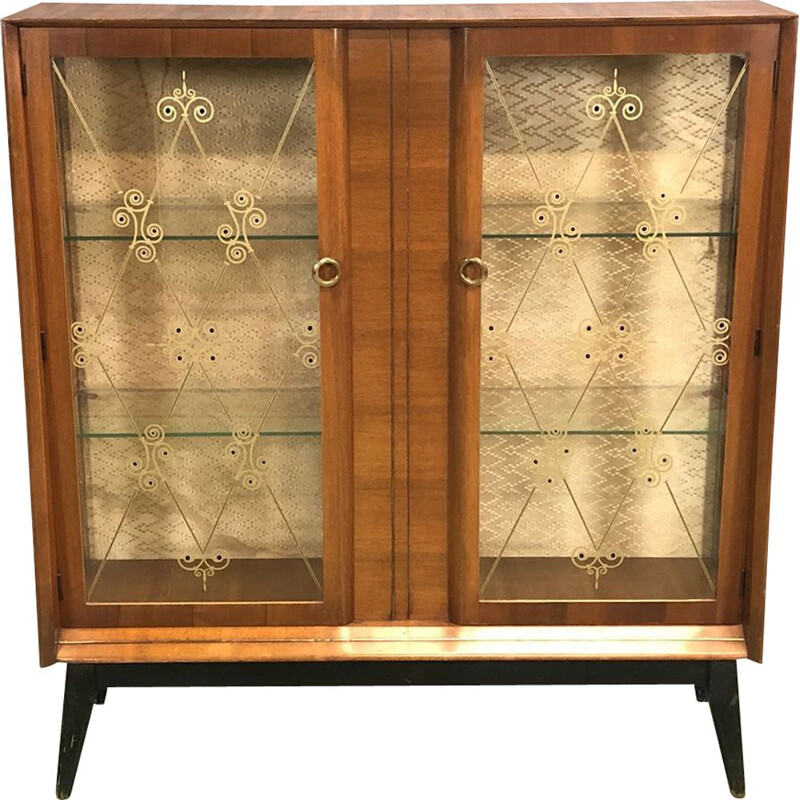 Bookcase in Walnut with window and compass feet, 1970s