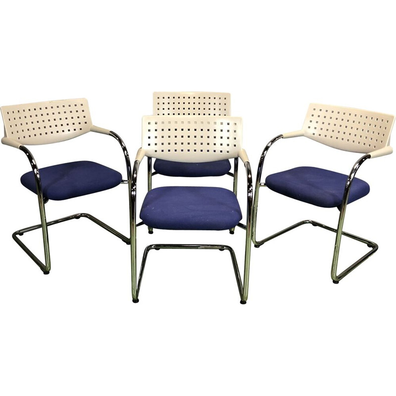 Suite of 4 vintage plastic and metal armchairs