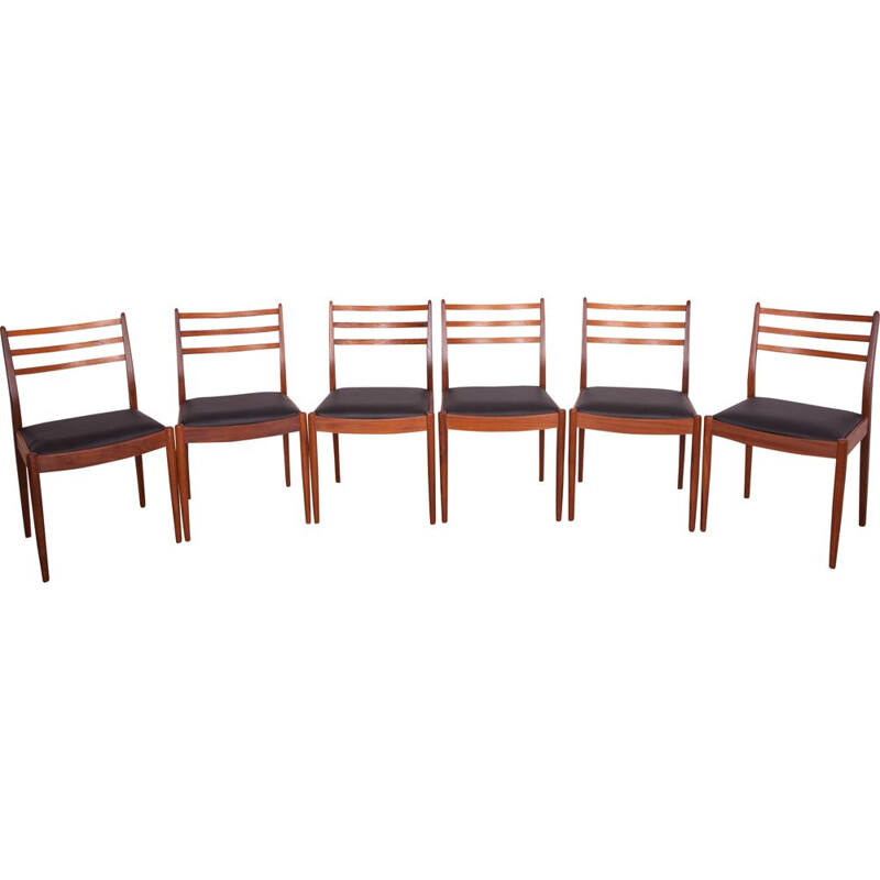 Set of 6 vintage dining chairs fabric and teak by Victor Wilkins for G-Plan, 1960s