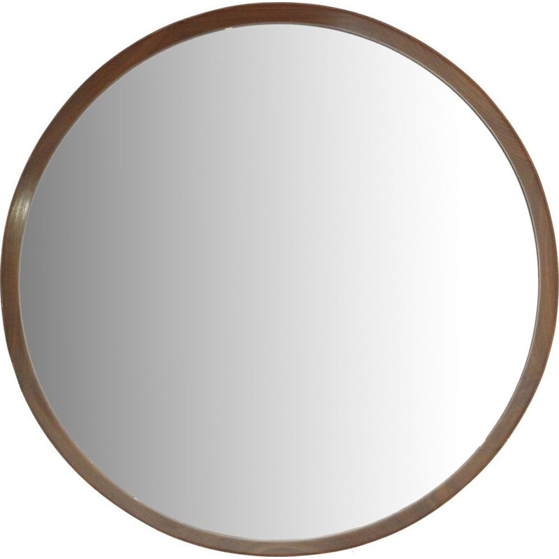 Vintage Round Italian  Mirror with wooden frame, 1960s