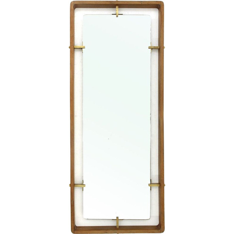 Vintage Rectangular frame Mirror in wood and brass by Sant Ambrogio e De Berti, 1950s