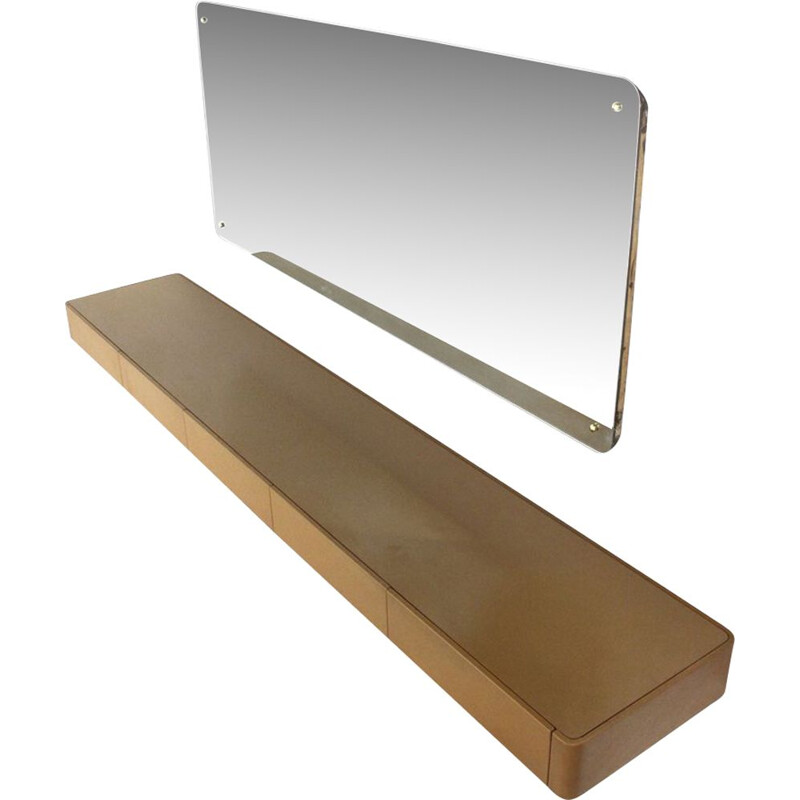 Vintage italian rectangular mirror with brass studs, 1950s