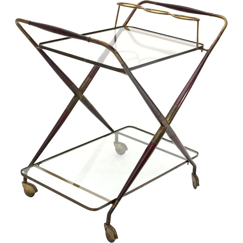 Vintage brass and glass serving table, 1950s