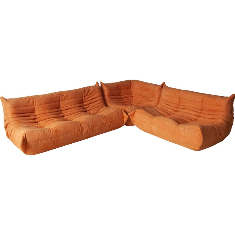 Vintage set of 3 sofas Togo for Ligne Roset in orange microfiber 1970s
