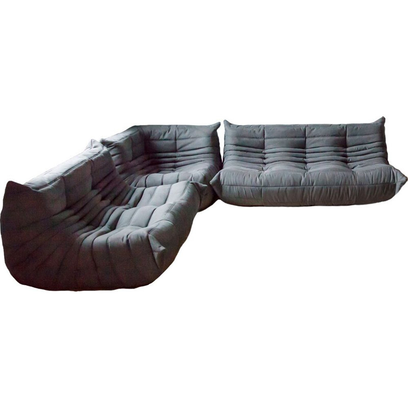 Vintage set of 3 Togo sofas by Michel Ducaroy for Ligne Roset in grey microfiber, 1970s